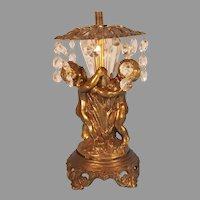 Footed Brass Finish Two Cherub Accent Lamp for Repair
