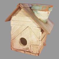 Vintage Wood Birdhouse / Planter