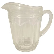 Small Clear Glass Eight Panel Starburst Pitcher
