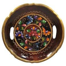 Hand Painted Floral Souvenir Wood Serving Bowl Mexico