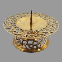 Cast Brass Fluer-de-lis Pedestal Pillar Candleholder