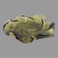 Fenton Olive Green Swirl Glass Candy Nut Dish