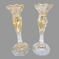 Pair of Clear Glass Candlesticks
