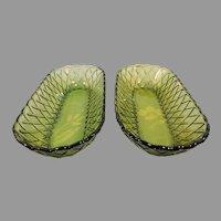 Pair of Vintage Green Oval Basket Weave  Serving Dish or Bowl
