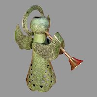 Archana Crafts Green Angel with a Horn Metal Candleholder
