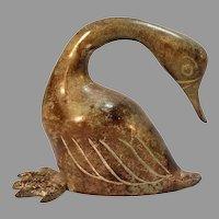Bronze Swan Figurine Paperweight