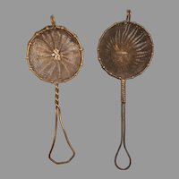 Pair of Vintage Woven Wire Tea Herb Strainers