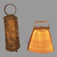 Vintage Brass and Copperplate Cow Goat Farm Bells