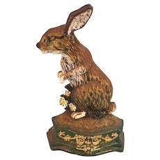 Vintage Cast Iron Bunny Rabbit Doorstop