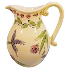Vintage Made in Portugal Hand Painted Ceramic Water Pitcher