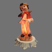 Porcelain Aladdin Giftware Night Light Yawning Boy on Tree Stump with Book