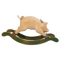 Wood Rail Rocking Paper Mache Pig