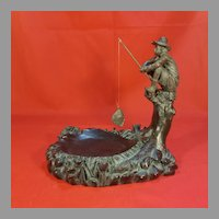 Resin Fisherman (broken leg) Sitting on a Tree Stump Dish