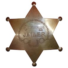 Vintage Brass Fox Stamp Company Six Point Jailer Badge