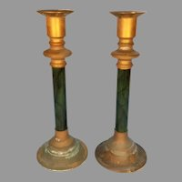 Pair of 1970's Marbled Green Brass and Lucite Candlesticks