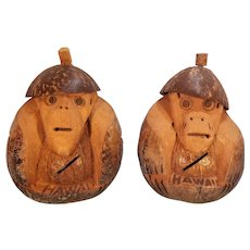 Two Hawaii Souvenir Carved Coconuts Monkey Banks