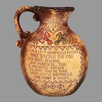 Souvenir Ceramic Left Hand Injun Pitcher / Vase