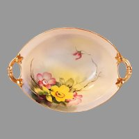 Small Oval Hand Painted Floral Nippon Serving Bowl