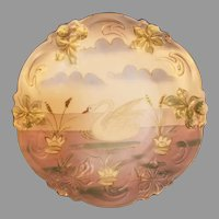 Ceramic Plate or Shallow Bowl Swan on Pond with Lilies and Berries