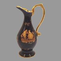 Cobalt Blue Porcelaine D'Art Limoges France Pitcher / Ewer / Bud Vase