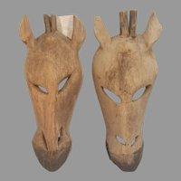 Pair of Vintage Souvenir Carved Wood Giraffe Hanging Masks