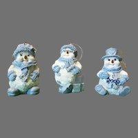 Set of Three Ceramic Living Stone 2000 Christmas Ornaments