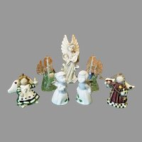 Set of Seven Christmas Angels Ornaments and Figurines
