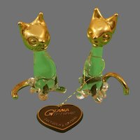 Glama Giftware 24KT. Gold and Crystal Cat Pair