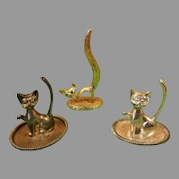 Set of Three Cat Figurine Ring Holders