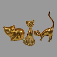Three Brass Cat Figurines