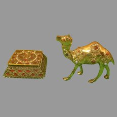 Made in India Jeweled Trinket Box and Brass Tone Camel