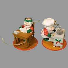 Pair of 1991 National Rennoc Santa Ornaments