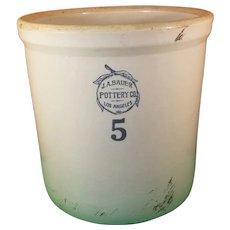 J. A. Bauer Stoneware Five Gallon Crock Pot