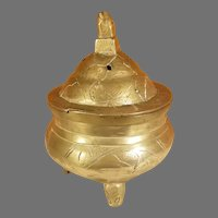 Chinese Footed Etched Brass Incense Burner