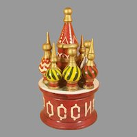Painted Wood Russian Orthodox Church Model