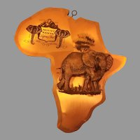 Wood and Copper Mount Kenya Safari Club Elephant Wall Plaque