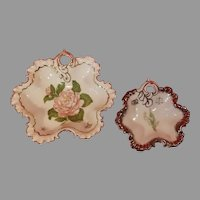 Pair of Ruffled Porcelain Candy / Nut Dishes with Gold and Silver Trim