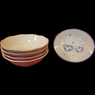 Set of 5 Ceramic Scalloped Bunny Rabbit Cereal / Dessert Bowls