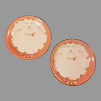 Pair of Sousaku Japan Porcelain Happy Fat Cat Saucers or Trinket Dishes