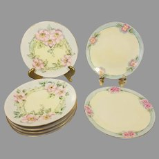 Hermann Ohme Silesia Hand Painted Floral Porcelain Dessert Plates