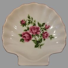 Porcelain Shell Trinket Dish Roses Made in Japan