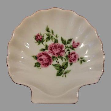 Porcelain Shell Trinket Dish Roses Made in Japan