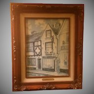 Signed Marty Bell Print on Canvas Titled Swan Cottage Tea Rooms, Rye