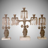 19th Century Girandole Candelabra and Pair of Matching Candleholders