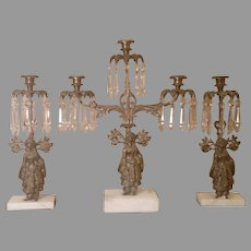 19th Century Girandole Candelabra and Pair of Matching Candleholders Free Shipping
