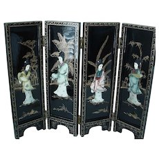Chinese Beauty Figures on Black Lacquer - Desktop Deco - Folding Divider