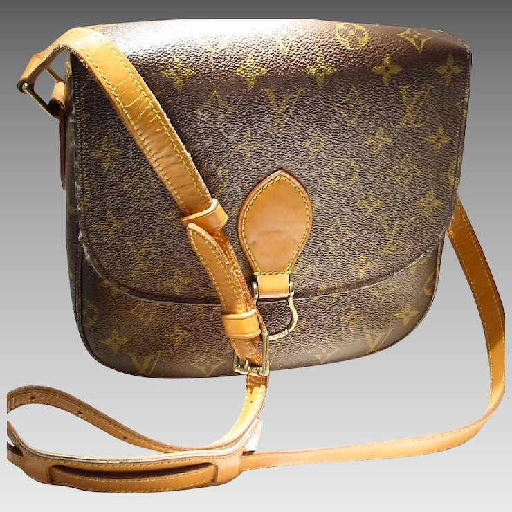Vintage Louis Vuitton Saint Cloud Mm Shoulder Bag Monogram Canvas Pvc Tan Leather Click To Expand