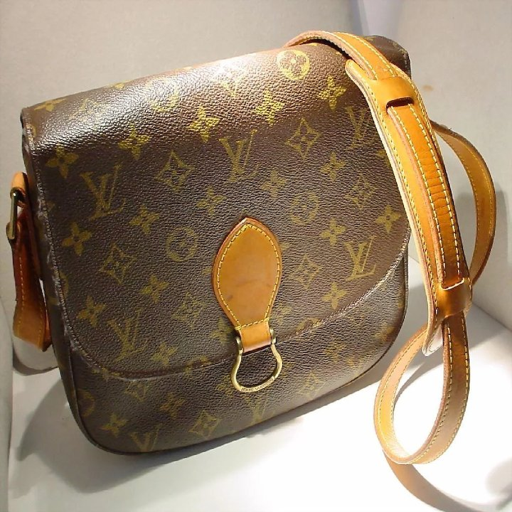 2ae41a0dbbf7 Vintage Louis Vuitton Saint Cloud MM Shoulder Bag - Monogram Canvas PVC   Tan Leather -