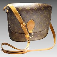 Vintage Louis Vuitton Saint Cloud MM Shoulder Bag - Monogram Canvas PVC /Tan Leather - Used - Well Kept