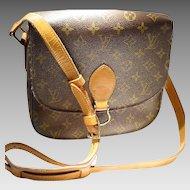 Vintage Louis Vuitton Saint Cloud MM Shoulder Bag - Monogram Canvas PVC /Tan Leather - Used - Well Kept